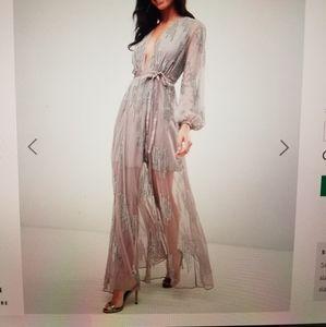 Gray purple sequin maxi dress